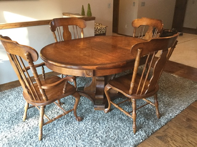 Dining Room Table, Solid Wood, 5 Chairs In Hutchinson, Reno County, Kansas